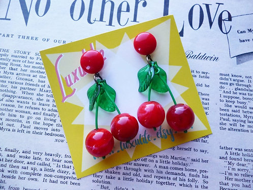 Red Cherry Jubilee Earrings - Tropical Fruit Pinup