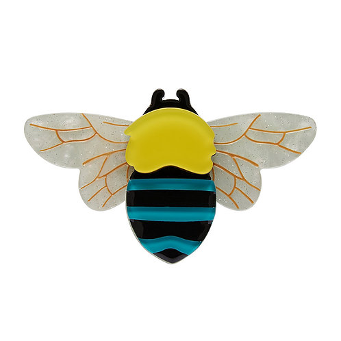 To Bee or Not to Bee Brooch by Erstwilder | Blue Yellow Black