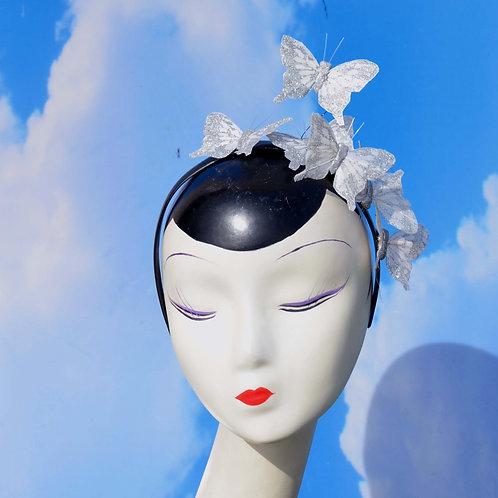 White Glitter Butterfly Fascinator Headband