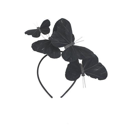 "The ""Mariposa"" Headband - Solid Raven Black Feather Butterfly Headband"