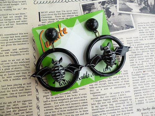 Batty Bats! Vintage Style Halloween Big Bat Hoop Pierced Earrings