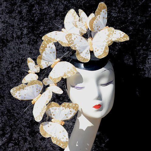 White with Gold Glitter Effie PLUS+ Butterfly Fascinator Hat