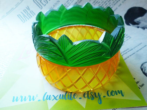 Juicy Pineapple Bangles! by Luxulite Bakelite Inspired - 2 Piece Set