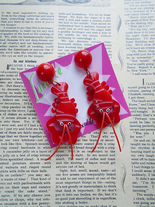 Sassy Carved Lobster Earrings Vintage Style by Luxulite