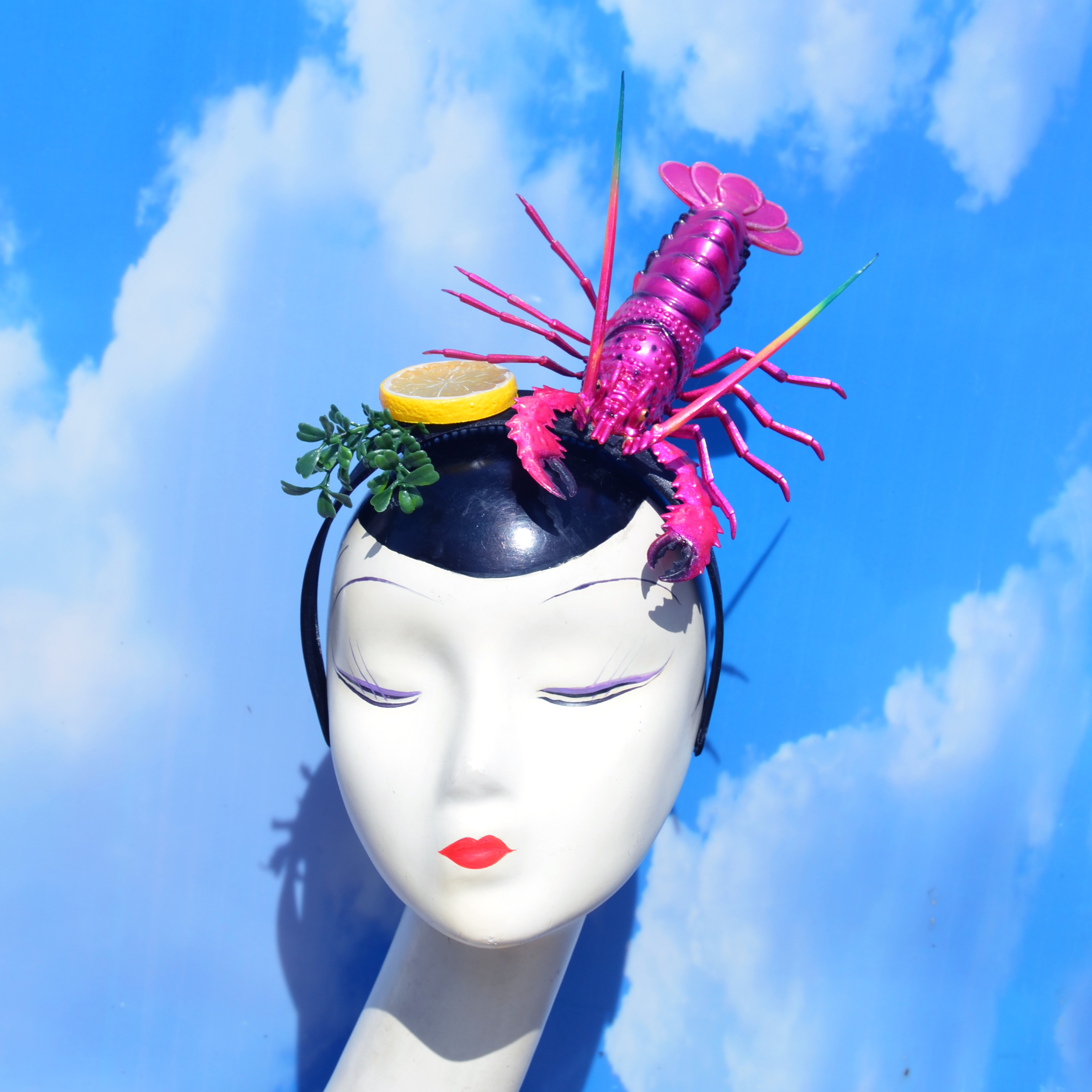 Hot Pink Surrealist Lobster Headband wit