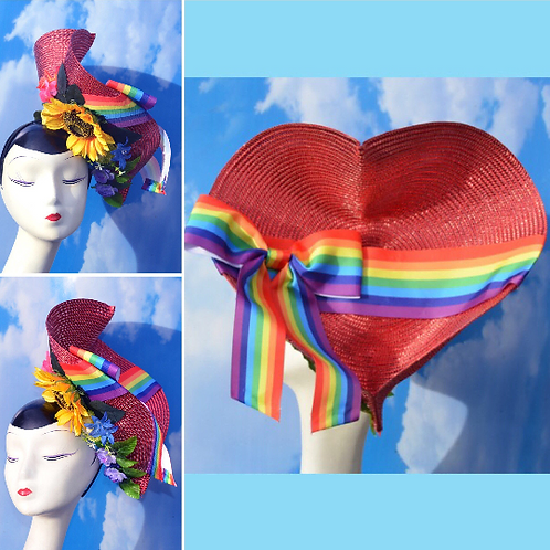 Convertible Red Heart Rainbow Ribbon Floral Tilt Hat Mixed Color Flowers Costume