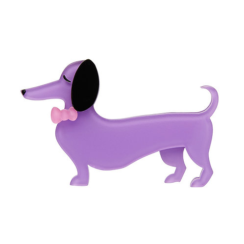 Spiffy the Sausage Dog Brooch by Erstwilder | Purple Dachshund