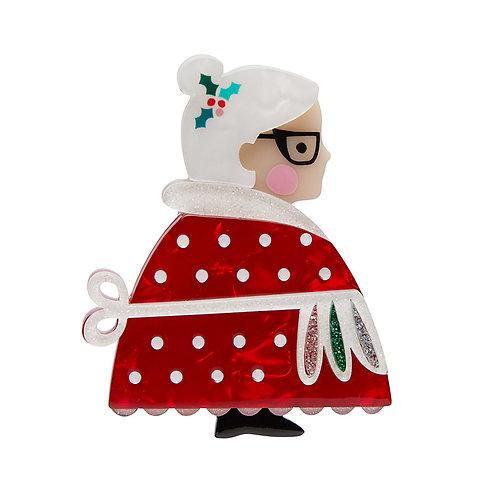 Mrs. Clause Brooch by Erstwilder | Mrs. Santa Claus