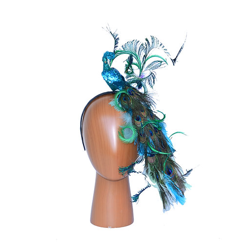 Convertible Blue Green Peacock Headband w/ Cascading Feather Tail & Curled Sword
