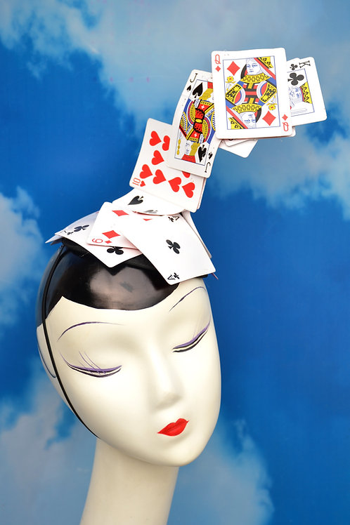 Surrealist Card Trick Fascinator Hat -Playing Cards