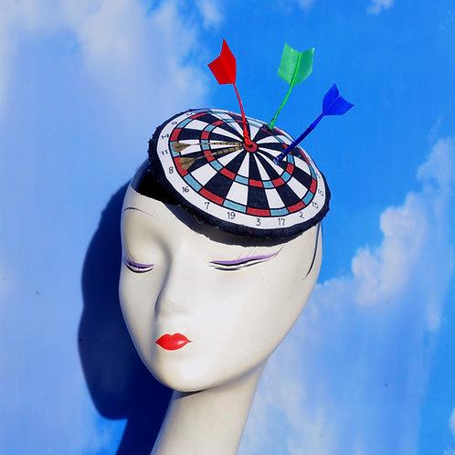 "Surrealist Black, Red, Blue Dartboard Fascinator Hat with Adjustable Feather ""Da"