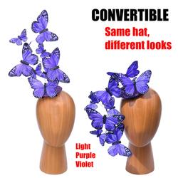 Light Purple Violet Butterfly Feather Effie Fascinator Hat