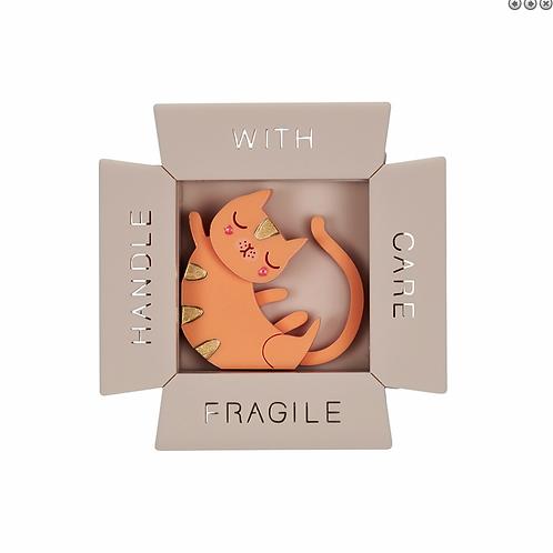 SLEEPING CAT IN BOX BROOCH by Little Moose | Orange Kitten