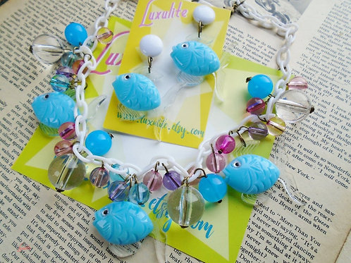 Bubbly Blue Lagoon, Fish Statement Necklace or Earrings by Luxulite