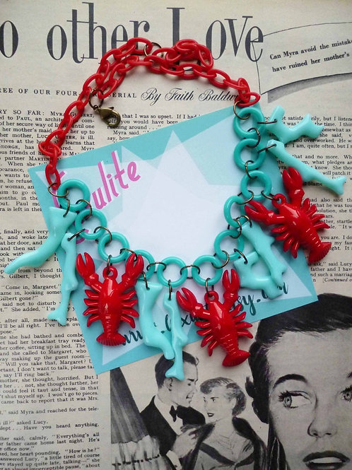 Lucky Lobsters! with Faux Coral Statement Necklace - Red and Turquoise Beachcomb