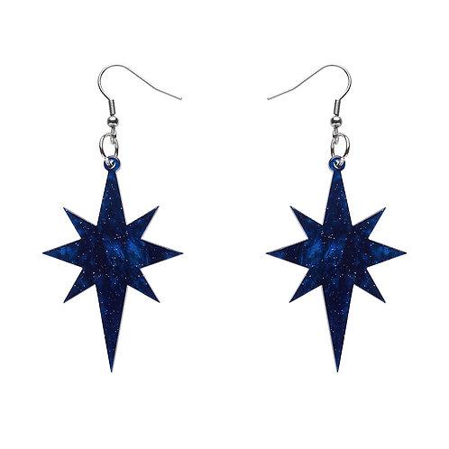 Starburst Ripple Glitter Resin Drop Earrings - Dark Blue