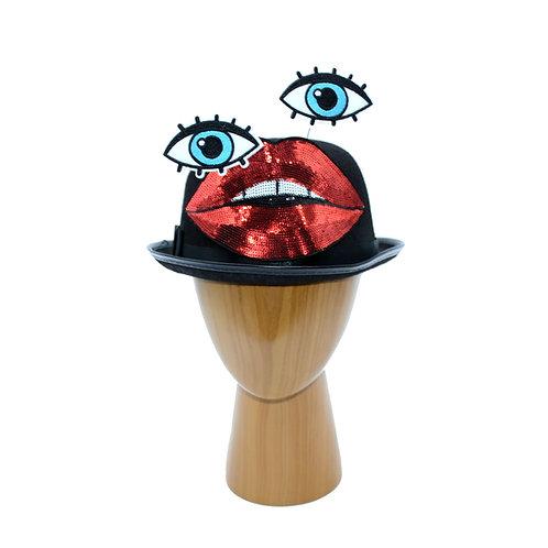 Surrealist Lips & Eyes Black Bowler Hat or Straw Fascinator Hat+