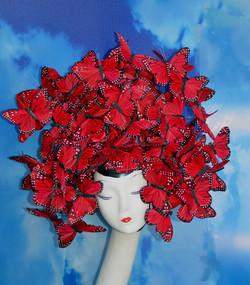 McQueen Red Monarch Butterfly Hat