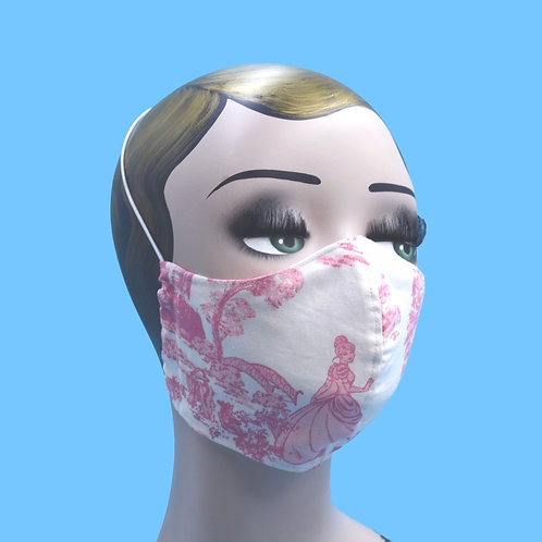 Pink Disney Princess Print Face Mask w/ Filter Pocket