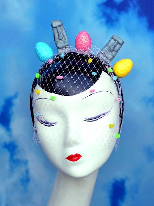 Easter Island Moai Heads & Eggs Pastel Veiled Headband | Fascinator Hat