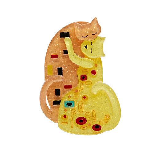 The Kiss Brooch by Erstwilder | Gold Cats
