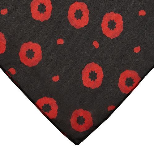 Poppy Field Head Scarf | Red Poppies on Black