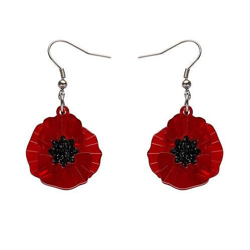 Poppy Field Drop Earrings by Erstwilder | Red Poppy Flower