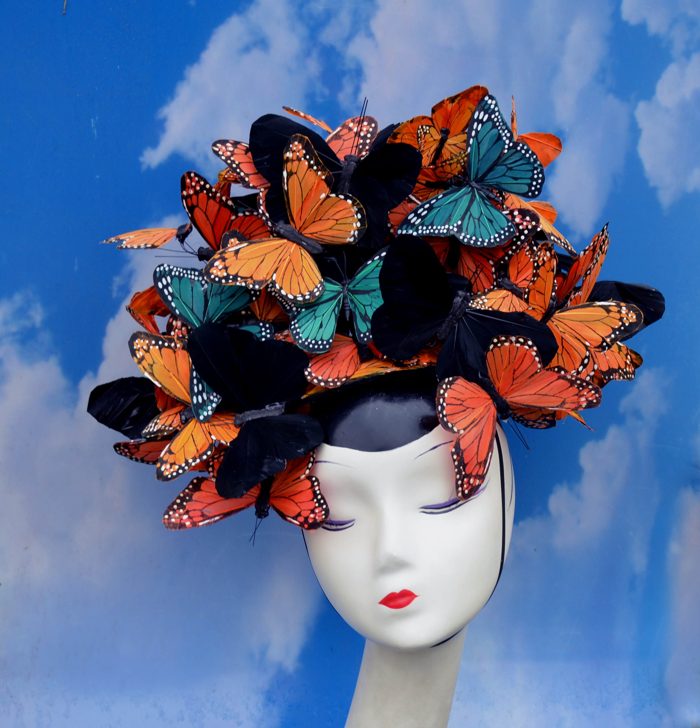 Orange Black Green Butterfly Hat