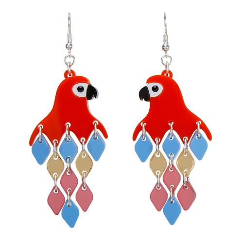 PARROT RED DIAMOND EARRINGS by Little Moose   Bird   Enchanted Tiki Room
