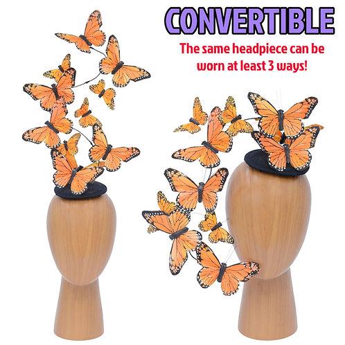 Orange Effie PLUS+ Feather Butterfly Fascinator Headpiece