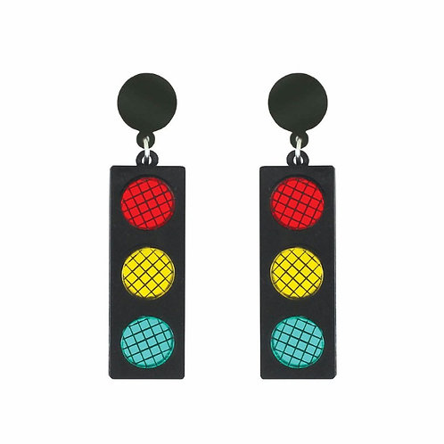 Traffic Light Earrings by Lou Taylor - Red Yellow Green Black Perspex
