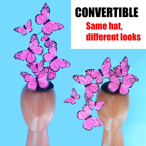 Convertible Pink Monarch Butterfly Feather Fascinator