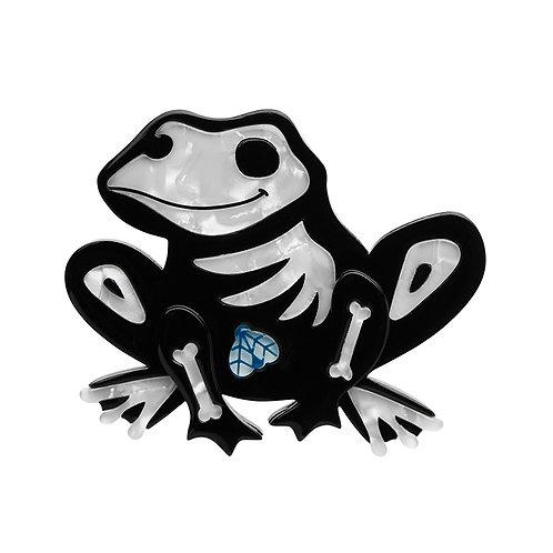 Haunted Hopper Brooch by Erstwilder | Frog Skeleton Bones w/ Fly