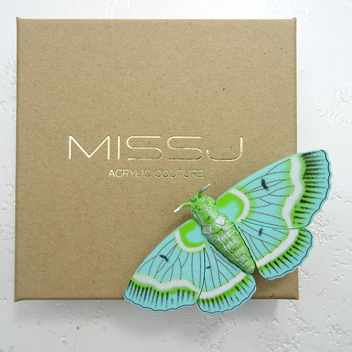 Moccasin Turquoise/White Moth Brooch by MissJ Designs   Butterfly