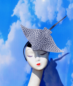 Spotted Sting Ray Eagle Ray Black White Fascinator