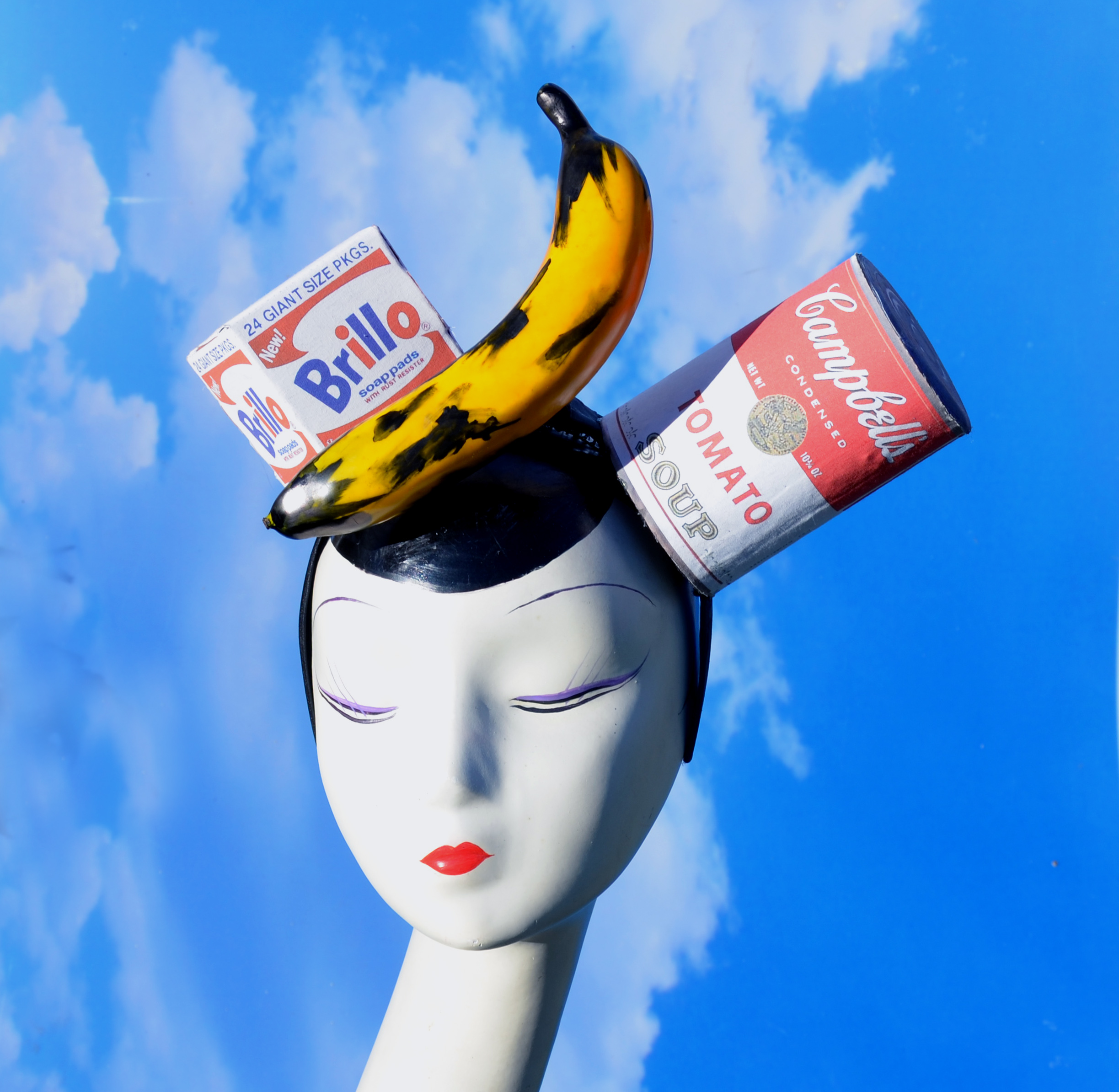 Andy Warhol Campbells Soup Can, Banana, Brillo Box Headpiece