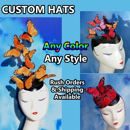 Custom Butterfly Feather Fascinator Hat
