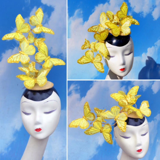 Yellow Feather Butterfly Fascinator