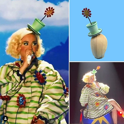 Surreal Cartoon Flower Pot Top Hat - As Seen on Katy Perry