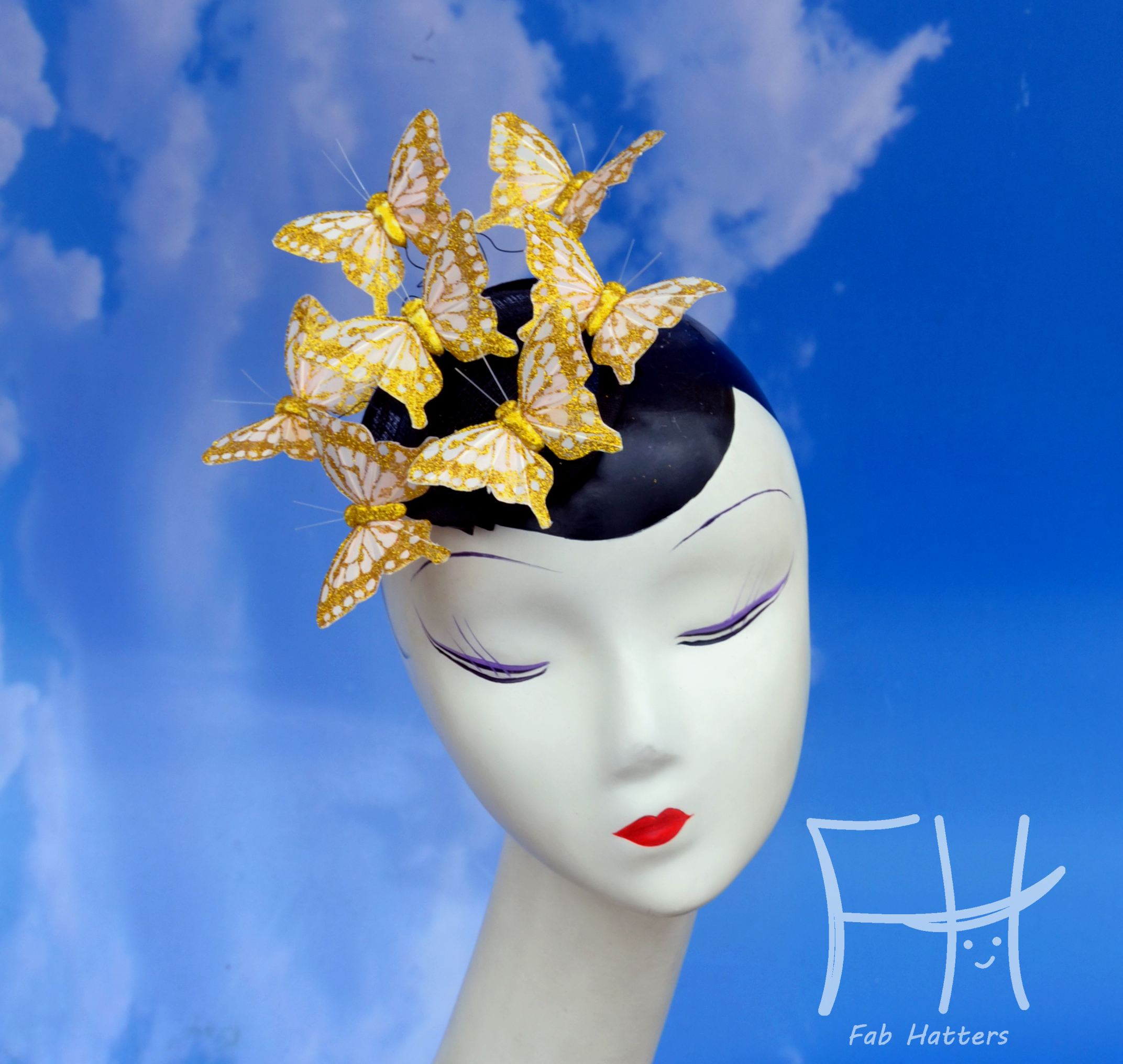 Gold Glitter Butterfly Fascinator