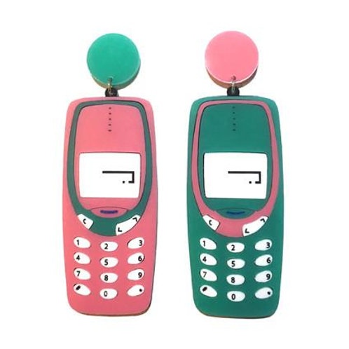 Retro Mobile Phones / Cell Phone Green & Pink Earrings by Yippy Whippy