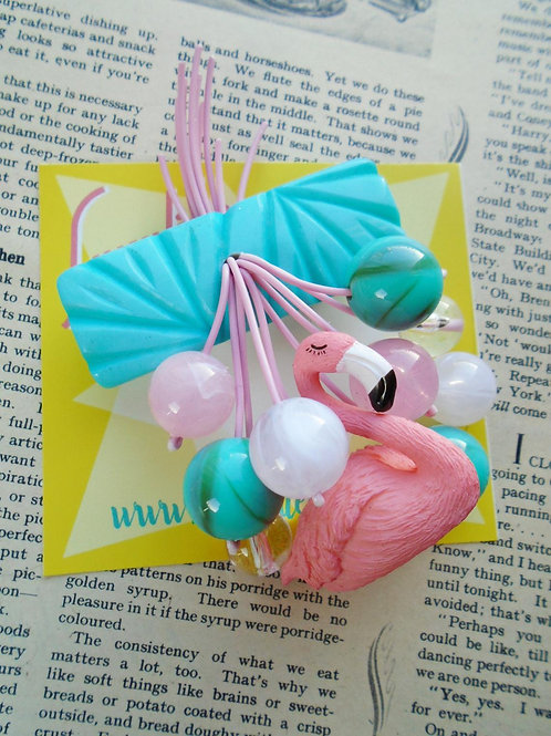 Teal & Pink Flamingo Retro Style Brooch by Luxulite
