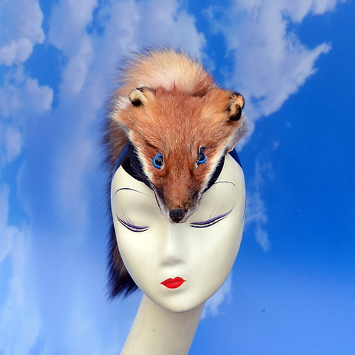 Real Taxidermy Red Fox Fur Headdress with Tail and Head