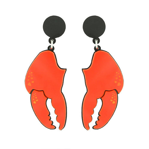Red Lobster Claw Earrings by Lou Taylor