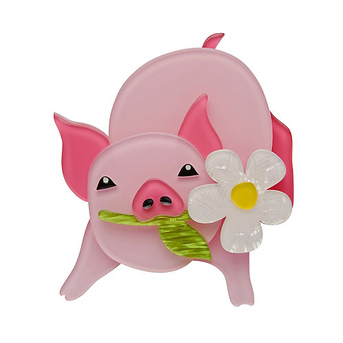 Wilbur the Wonder Pig Brooch by Erstwilder | Pink Pig w/ Daisy Flower