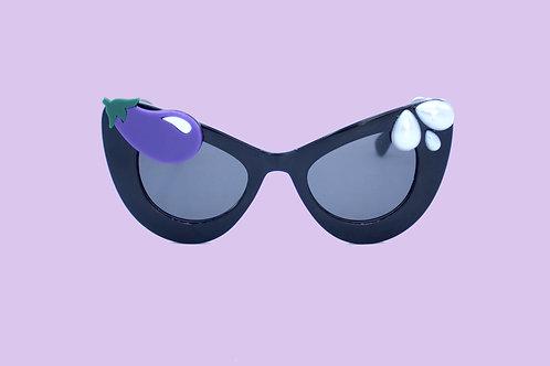 Sexy, Thirsty Eggplant Emoji Sunglasses | Retro CatEye w/ Pearl Teardrops