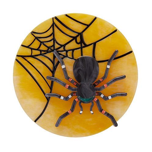 Itsy Bitsy Spider Brooch by Erstwilder | Spider Web on Orange