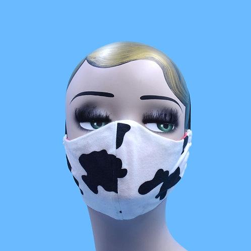 Black White Cow Print Face Mask w/ Filter Pocket