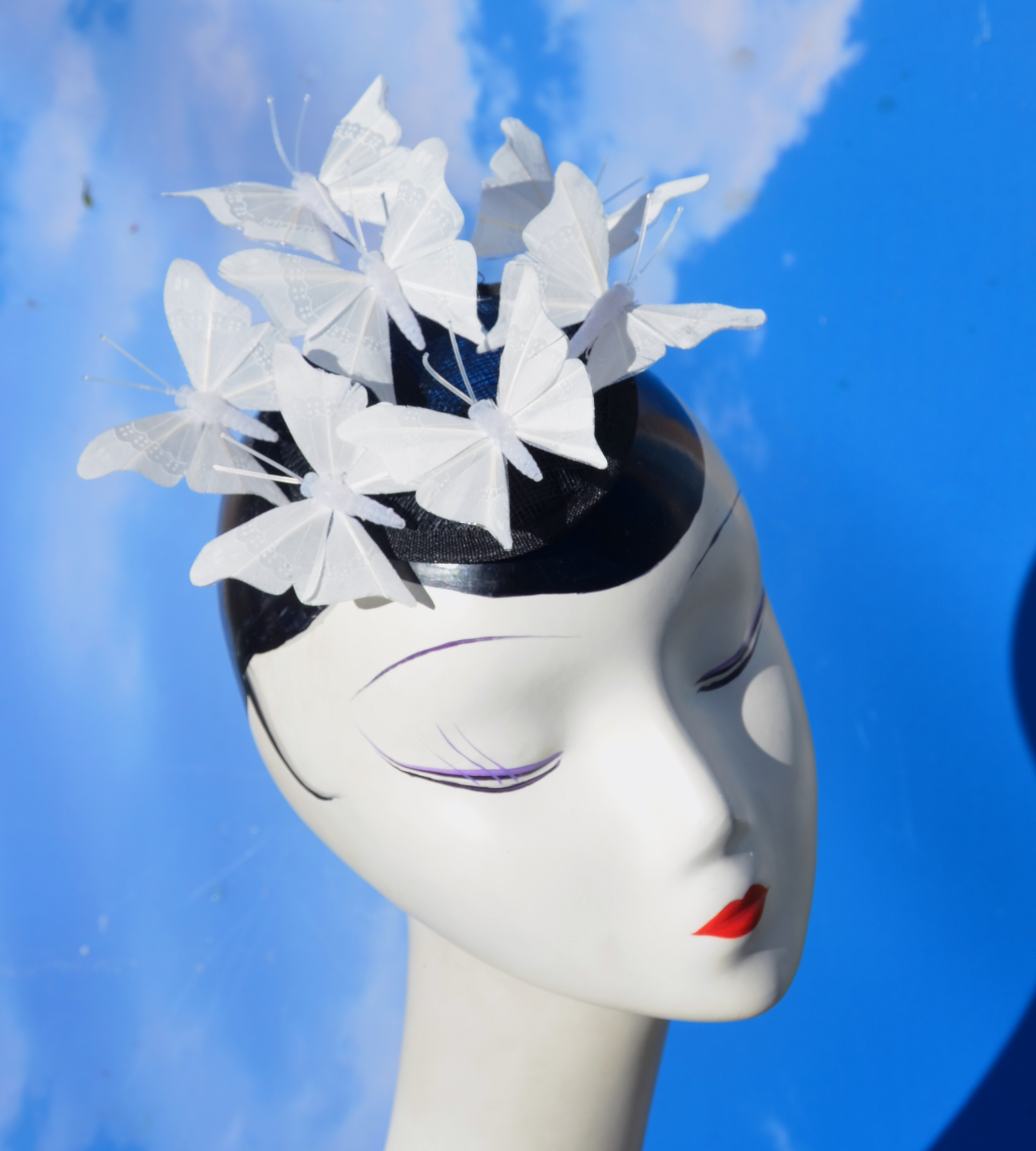 White Bridal Butterfly Fascinator Ha