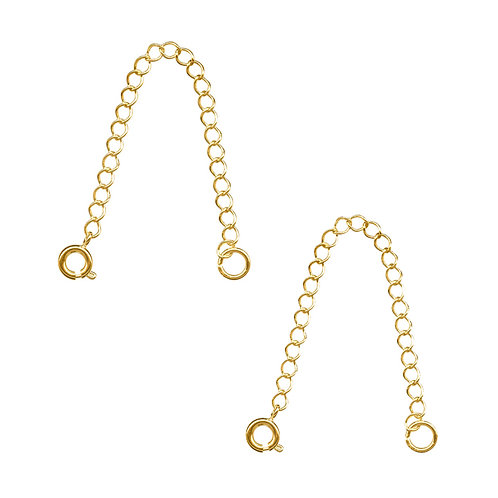 2 Pack Gold Plated Chain Necklace Extender w/ Spring Ring | Jewelry Finding